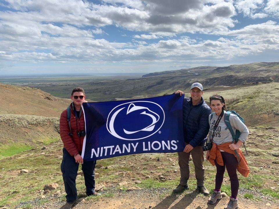 ESP student Kelli Dethomas, shown far right, stands with other Penn State Students on a scenic overlook in in Iceland